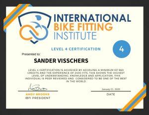 International Bike Fitting Institute Level 4 Certification Sander Visschers - FitYourBike